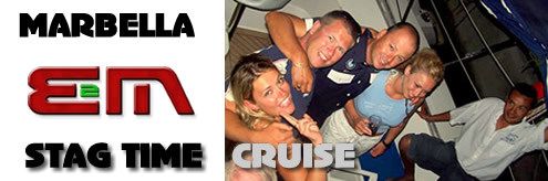Stag night Boat Cruise in Marbella on the Costa del Sol, Spain, Catamaran cruises for Stag weekends and Stag Parties