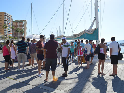 Boarding the Catamaran in Marbella