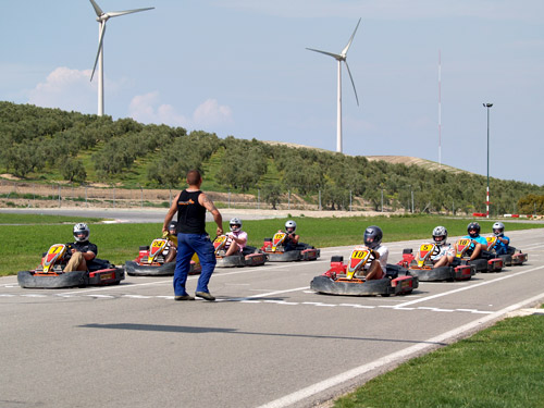 Go Karts Lined up on the Grid for the Race